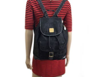 MCM Vintage Black Nylon and Leather Backpack