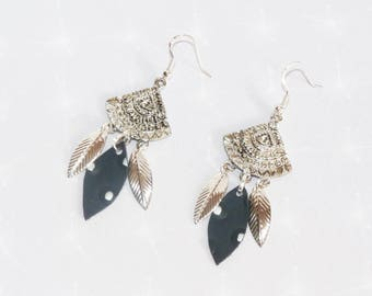Earrings ' Silver 925 Bohemian leaves and leaf leather black/silver