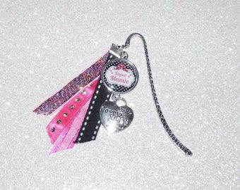 Bookmark great Grandma/MOM/aunt/godmother tones Pink Silver and black