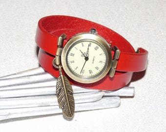 Red leather double twist watch, dial bronze feather charm