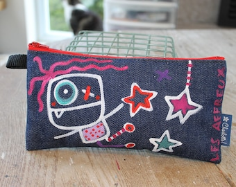 Case back to school, made and hand painted, unique, pencil case, pouch