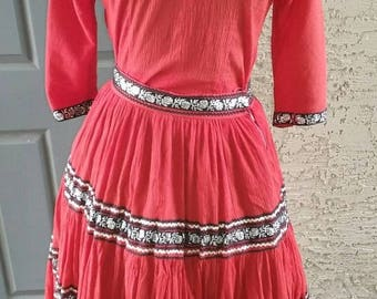 SALE Sale!**Georgie of Arizona 1950s western patio dress in lipstick red with silver rose and ricrac trim, rockabilly, VLV