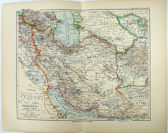 Original 1892 Map of Persia by Meyers. Iran. Antique