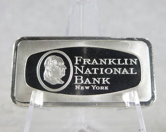 Vintage FRANKLIN NATIONAL BANK New York 65g Silver Ingot Franklin Mint 1000 Grains Sterling Silver Bullion Bar