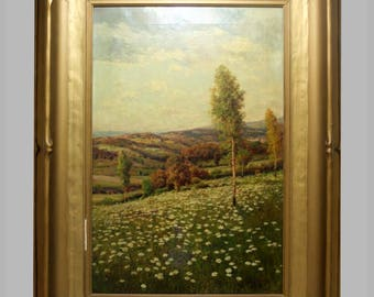 Jules Moreau California Plein Air Daisy Field Oil on Canvas Painting original Gilt Frame Landscape Rolling Hills  Hanson Puthuff School