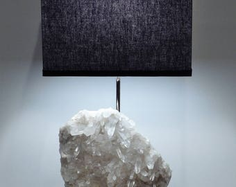"White Quartz Rock Crystal Table Lamp ""Charlotte"" -- Crystals// Lamp//Gemstone Lamp//Mineral Lamp//Geode Lamp"