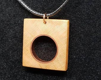 Cherry Wood and Copper Pendant
