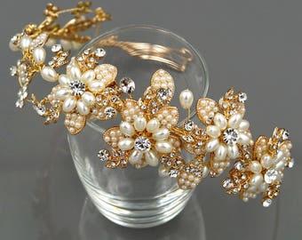 Bridal Flower Crown,Pearl Wedding Tiara,Gold Wedding Headband,Floral Bridal Tiara,Flower Crown,Gold Wedding Headband HMH00593