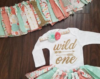 Wild one tutu set and highchair banner