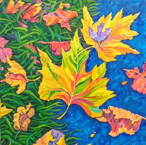 Progression, original painting in acrylic of autumn leaves at a path edge