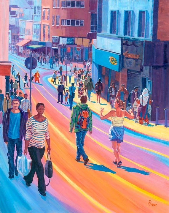 Rainbow Roads, Original Painting in Acrylic of Shoppers on Church Street Croydon