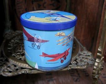 Blue Bird Tin, Aeroplane Tin, Aviation Tin, Vintage Tin, Flying Machine, Aeroplane Gift, Gift For Dad, Man Cave, Aviation Gift, Gift Box