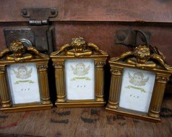 Gold Frames, Cherub Frames, Angel Frames, Gilt Frames, Photo Frames, Set of Frames, Small Frames, Three Frames, Photograph Frames, Rococo