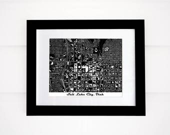 Salt Lake City Map Print, Utah