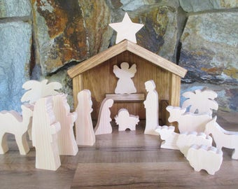 Wooden Nativity set - Christmas Nativity - Wooden Nativity scene - Nativity decor - Rustic Christmas decor - Christmas gift
