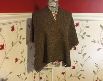 Irish Shawl - Celtic Wrap - Stole - 100% Irish Wool - Tweed - Brown