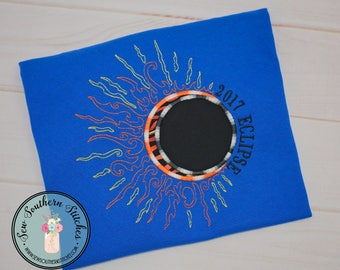 2017 Solar Eclipse Applique Design ~ Moon over Sun ~ Instant Download