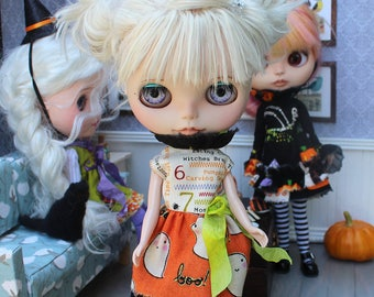 """Blythe Outfit Mixed Fabrics Witchy Tattered Halloween Dress Witch Hat Headband For Blythe 12"""""""