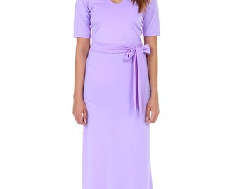 Lilac Maxi Dress V Neck Short Sleeves