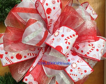 Candy Cane Tree Bow, Red Silver Tree Topper Bow, Christmas Tree Topper Bow, Candy Cane Tree Decor, Holiday Red Bow, Candy Cane Bow, Xmas Bow