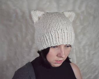 Cat ear beanie Knit cat hat Cat ears hat Knitted cat hat with cat ears Knit cat beanie hat Cat ear hat Cat beanie Neko ears