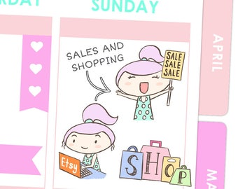 Rosie Sales and Shopping Stickers / Planner Stickers