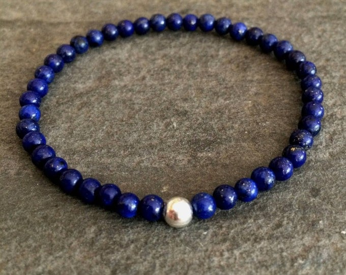 Blue Lapis Lazuli stretch Bracelet with Sterling Silver or Gold Fill bead - September Birthstone gift