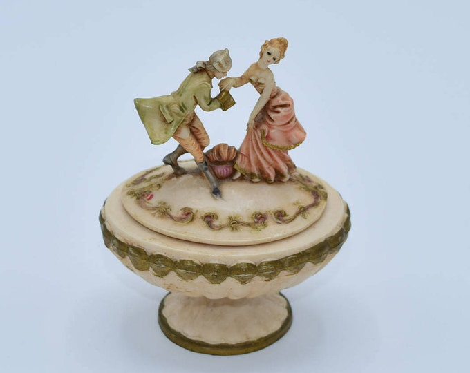 Featured listing image: Depose Italy Trinket Box Vintage Victorian Courting Couple Jewelry Box Fontanini Made in Italy Ring Box Vanity Dresser Romantic Decor