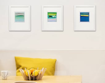 """4x4""""Print, Set of 3 Abstract Giclee Prints, Yellow, Blue, Green, Red, Turquoise, Modern home decor, Wall art, Abstract Print Collection"""