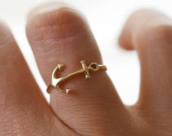 Mother's day gift nautical jewelry, gold anchor ring, 10K solid gold anchor midi ring,Pink anchor ring solid gold.