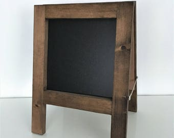"""Mini Table Top Chalkboard Sandwich Board   A-Frame   Double-Sided   Perfect for Wedding or Business   Custom Stain Options   12"""" x 12"""""""