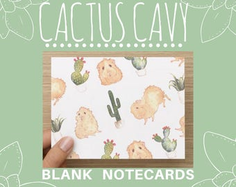 CACTUS CAVY Blank Note Cards Guinea Pigs Hamsters Succulents Everyday