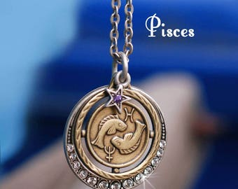Pisces Necklace, Pisces Jewelry, Zodiac Jewelry, Pisces Birthday Gift, February Birthday, Gift March Birthday, Astrology, Horoscope N1244-PC