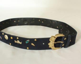 1980's Night Blue Embellished Suede Leather Belt - 80's Embellished Evening Belt