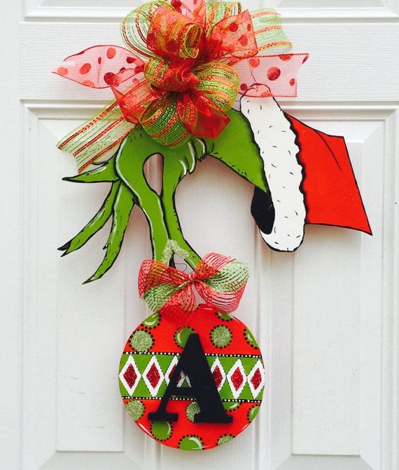grinch hand door hanger with initial how the grinch stole christmas door hanger - How The Grinch Stole Christmas Decorations