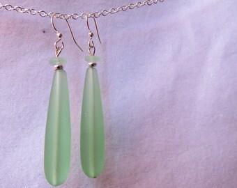 Long green sea glass dangls earring