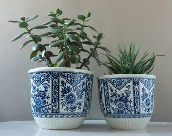 Set!, flowerpot Delft, plant Delft, Pot Delft, Boch Delft, Boch Belgium, Delft Blue, Flowerpot 70s, cactus planter, shabby chic decor
