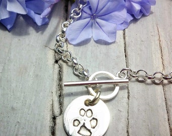 Dog's ACTUAL paw print - Custom charm - personalized dog print - Pet Print jewelry -  womens charm bracelet - pet loss - pet memorial charm