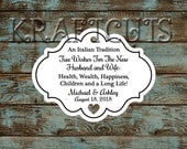 Favor Tags, Jordan Almond Favor Tags, Sugared Almond Favor Tags, Italian Wedding Favor Tags Framed with Heart Cut Out #604 - Qty: 30 Tags