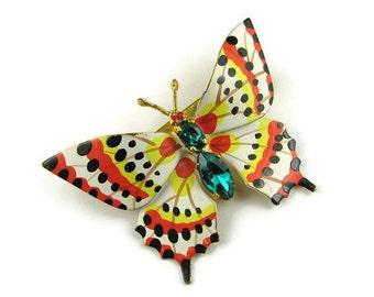 Czech Enamel Butterfly Brooch
