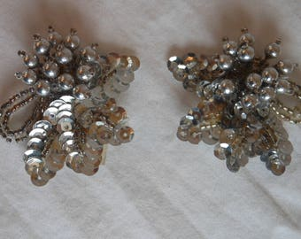 Vintage 1990s Silver Sequins and Beads Shoe Clips. Silver Shoe Clips.