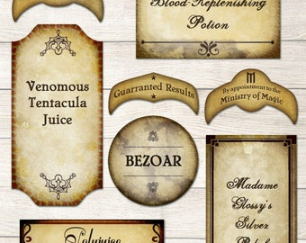 Harry Potter editable potions labels printable - wizard tags, PDF FILES - 51 editable Potions labels for Harry Potter Party decor