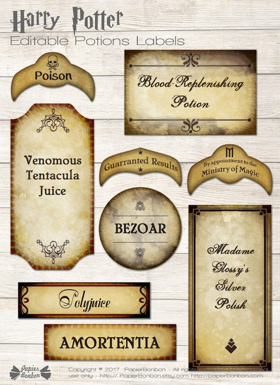 Selective image with regard to harry potter potion labels printable
