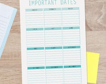 Important Dates, Planner Pages, Special Dates, Days To Remember, Digital Planner Pages, Yearly Planner, Diary Planner 2018, Diary Journal