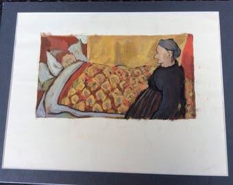 Gouache painting 'After Vuillard ' 1960 by Judy Neve