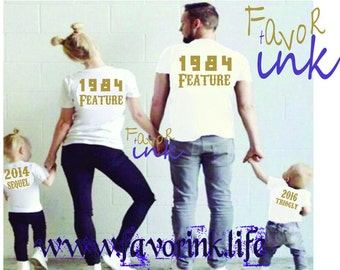 Family matching T-shirts couples matching shirts mommy and me  birth year shirts copy paste /original