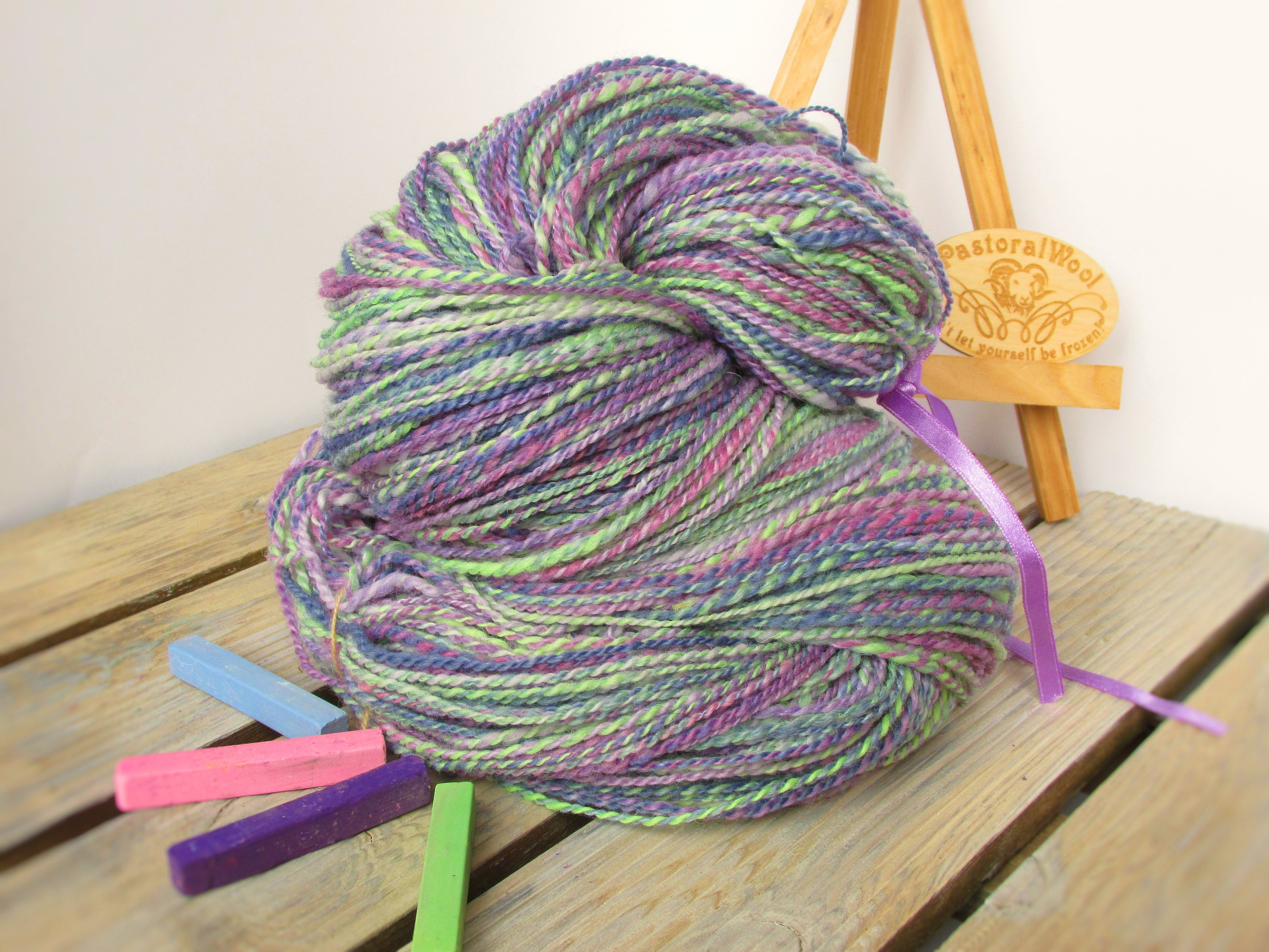 Knitting Handspun Yarn : Handspun yarn knitting wool hand dyed lila