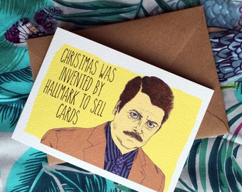 Ron Swanson Parks and Recreation Christmas Card