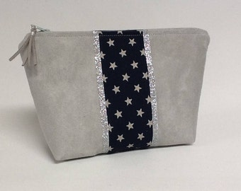 Makeup stars and glitter/gift idea for her / pocket glitter silver/grey suede and stars/Pocket pouch