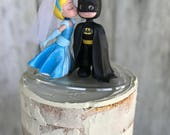 Cinderella Kissing Batman Wedding Cake Topper